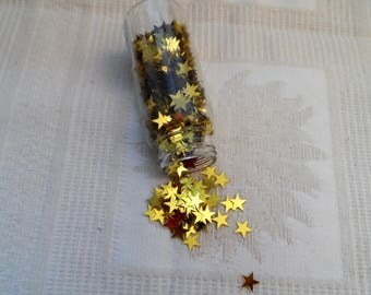 Confetti stars yellow golden color Deco hobby table deco sequins, sequins.