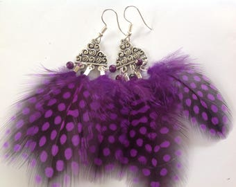 Earrings speckled black purple feathers, ethnic silver plated metal hooks, beads connectors
