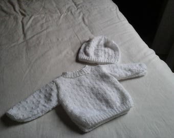 ALL WHITE BABY SWEATER AND HAT