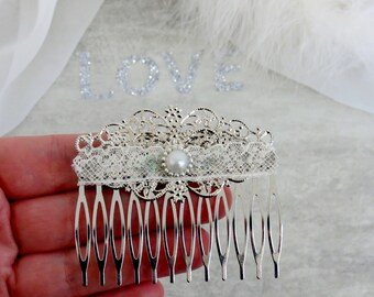 "Hair comb ""sparkles"". ~ * Silver, ivory, lace, thin, wedding, bride, Bridal hair accessories"