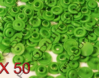Set of 50 snap resin Kam T5 color green 12 mm