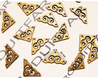 16 Angle protective corners nail Bronze beautiful woodworking embellishment box chest trunk drawer 20 * 20 mm thick