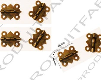 Set of 6 Bronze hinges for box jewelry box chest screw described 20 x 16 mm