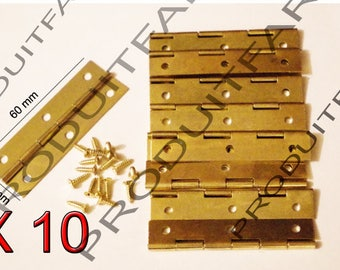 Set of 10 long gold hinges for jewelry box chest box matching screw 20 * 60 mm