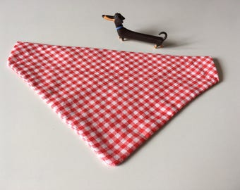 Red & white gingham check animal/dog/cat bandana/neckerchief (small)