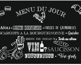 "A cutting board (or tray presentation) glass ""menu to the French"""