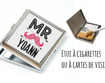 """CIGARETTE or card case personalized-""""monsieur"""""""