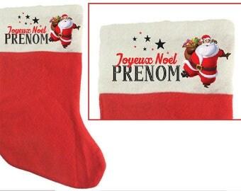 """Christmas felt stocking """"Santa"""" personalized"""