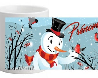 """CERAMIC MUG """"Snowman"""" personalized with the name of your choice"""