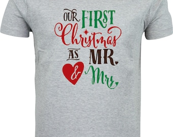 Our first christmas as Mr and Mrs funny humour gift present christmas full color sublimation t shirt