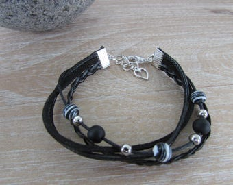 "Bracelet silver multi-row, black, ""Ariane"" beads"
