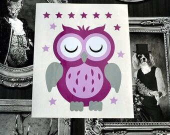 "Sticker ""Lili-Rose"" the little OWL to adopt. Decor kids vinyl sticker"