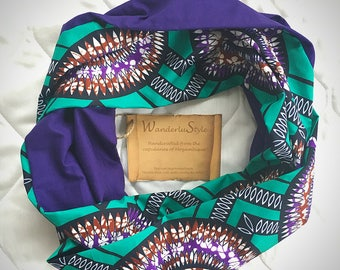 Purple and Turquoise Infinity Scarf - Mozambique