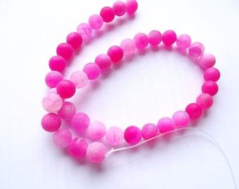 38 perles rondes lisses en agate givrée rose 10 mm ZUI-150