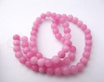 62 round beads smooth pink agate dyed 6 mm DINSK 519