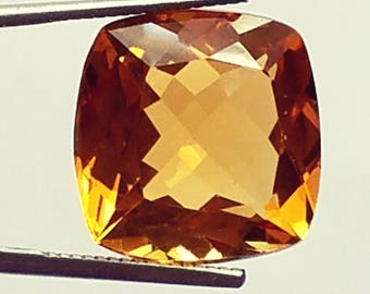 Peach sapphire, Padparadscha sapphire, 15.25 carats, 16.26 mm by 12.57 mm by 9.35 mm checkerboard cushion faceted, synthetic corundum