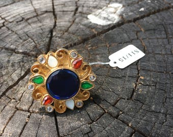 Kundan ring with royal blue center stone