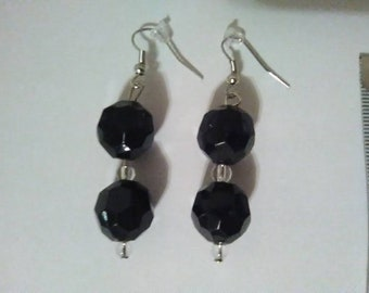Beautiful Black and Clear One of a Kind Earrings