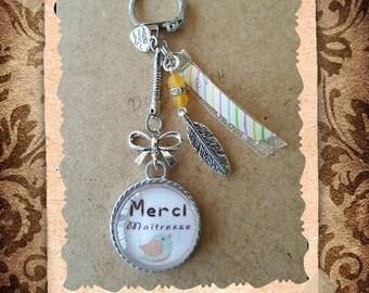 "Glass cabochon key ring / jewelry bag ""Thank you teacher"""