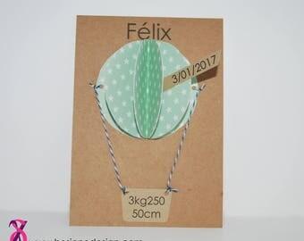Faire-part de naissance thème montgolfière vert menthe