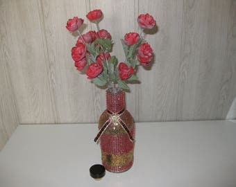 vase/bottle glass rhinestone glitter Ribbon and three flower stems