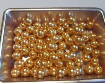 Round beads 6MM Golden 3 satin