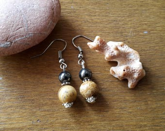 "Earrings ""Jaspe and Hematite"""