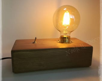 Lamp wood modern amber colored vintage globe bulb