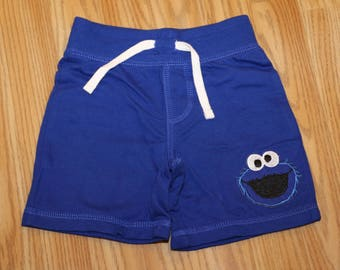 Cookie Monster Sesame Street First Birthday Baby Boy Blue Shorts