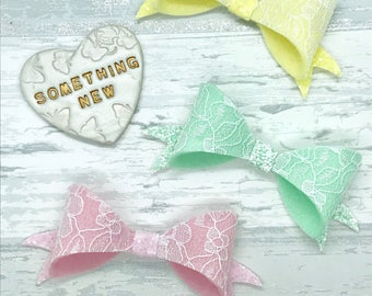 Lace hair bows, pastel bows, Spring bow set, girls gift, pink hair bow, party hair clips,baby headband
