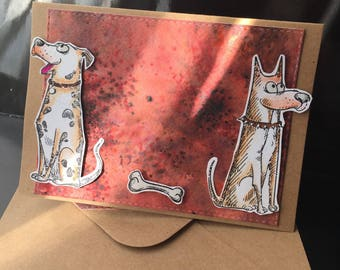 """two dogs and bones"" card!"