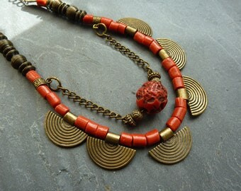 Ethnic necklace bronze beads and glass coral red glass beads