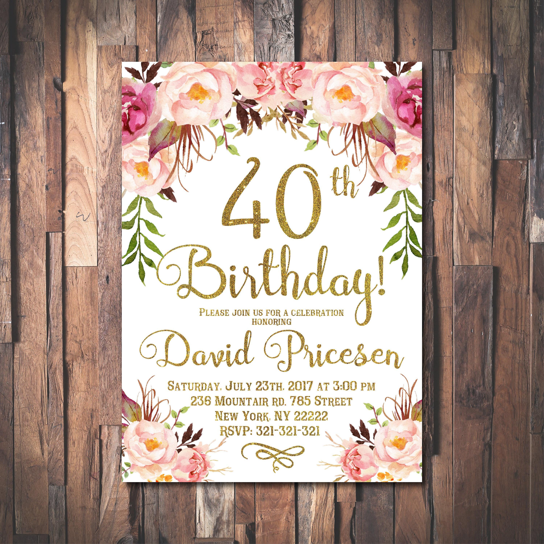 40th Birthday Invitation for women, 40th Birthday Invitation, 40th ...