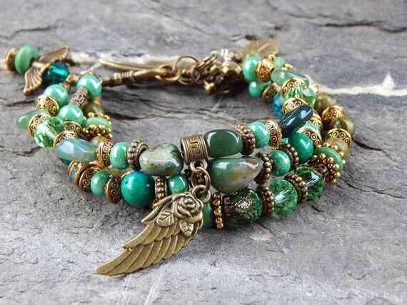 Bracelet nuances de vert