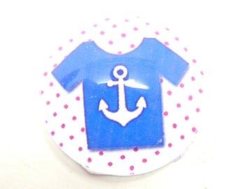 2 Navy anchor blue 20mm glass cabochon