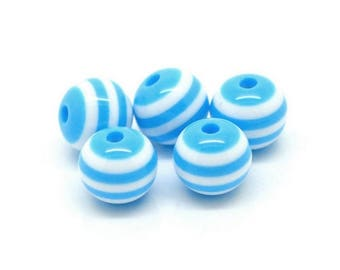 10 striped beads 10mm blue resin set