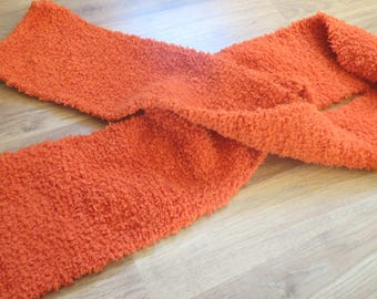 Fancy rust colored scarf, knitted by hand.