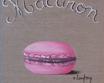 "Painting on linen painting ""Macaroon"" pink"