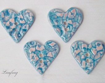 Set of 2 original turquoise-pink heart buttons, earthenware
