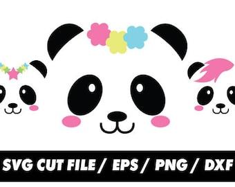 Panda svg files, Kawaii clipart, clipart, Panda frame silhouette svg eps png dxf Cut Print Mug Shirt Decal