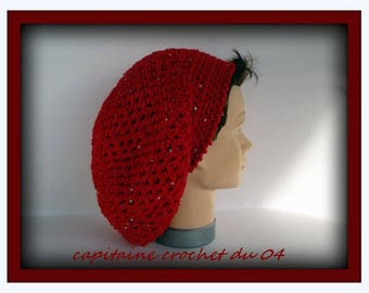 Hat (Beanie) woman falling (Slouchy Rasta) made Crochet red with sequins