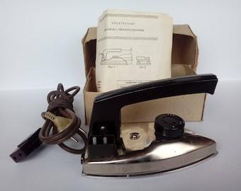 Vintage Folding Iron / Working Soviet Metal Iron / Handy Pack Travel Iron / Compact Electrical Tourist Iron / Retro Slim Traveling Iron