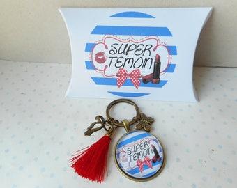 """Porte clés mousqueton cabochon verre + boite cadeau """"super témoin marinière"""" blanc, rouge, bleu, marinière"""