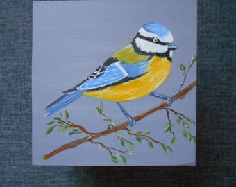 "Handpainted on a grey blue background ""Titmouse"" square wooden box"