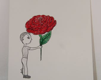 """""""little boy with rose"""" drawing in marker"""