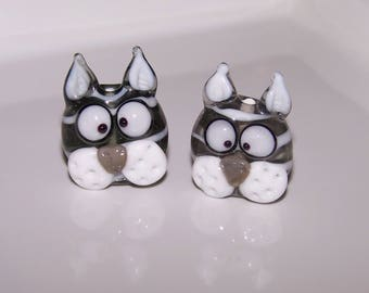 2 Pearl gray cats Lampwork Glass