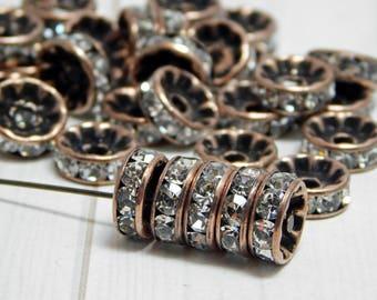 Bulk Pack - 50pcs - Antique Copper Rhinestone Rondelles - 10mm Rhinestone Spacers - Crystal Spacers - Rhinestone Rondelles - 50pcs (5125)