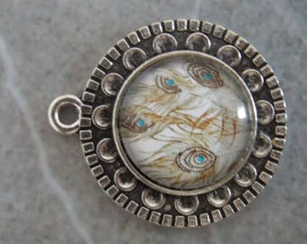 ❥ Pendant round cabochon 16mm silver Peacock feather