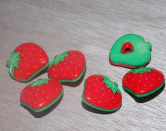 Strawberry set of eight buttons with foot