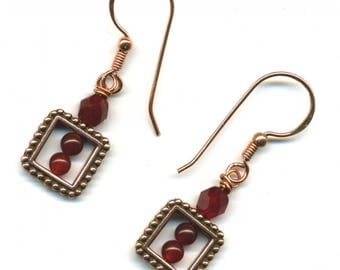 "COPPER earrings ""the framed square"" - UNIQUE Piece."